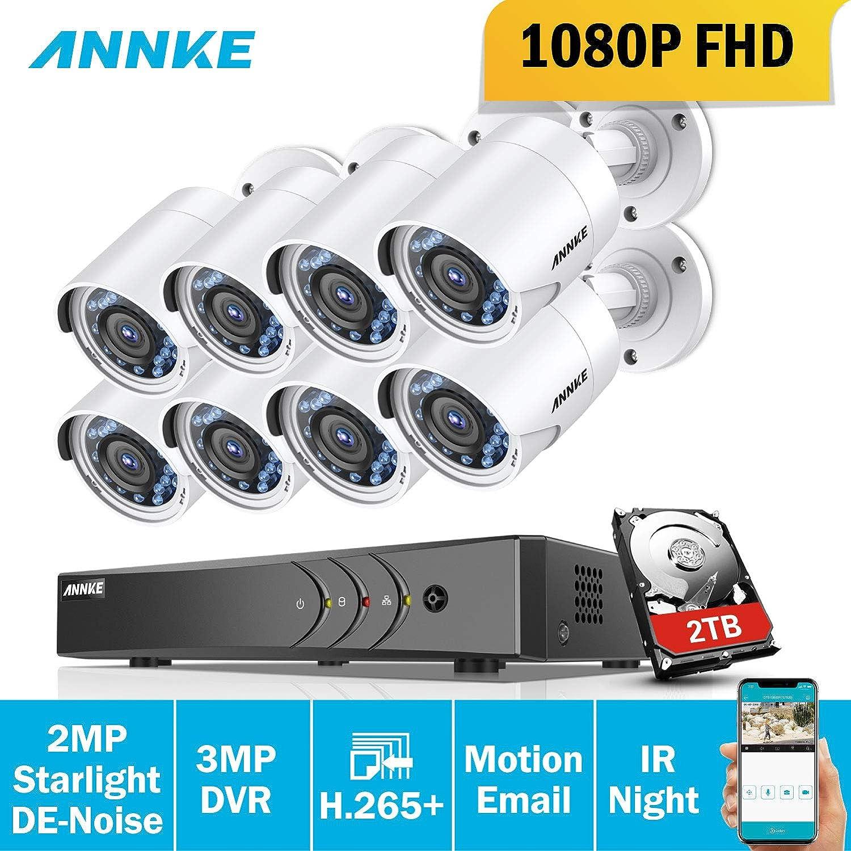 ANNKE Sistema de seguridad Kit de 8 CCTV Cámaras de vigilancia 1080P(Onvif H.265+ CCTV DVR P2P 8CH TVI 1080P 8 cámaras 2.0MP IP66 Impermeable 36 IR ...