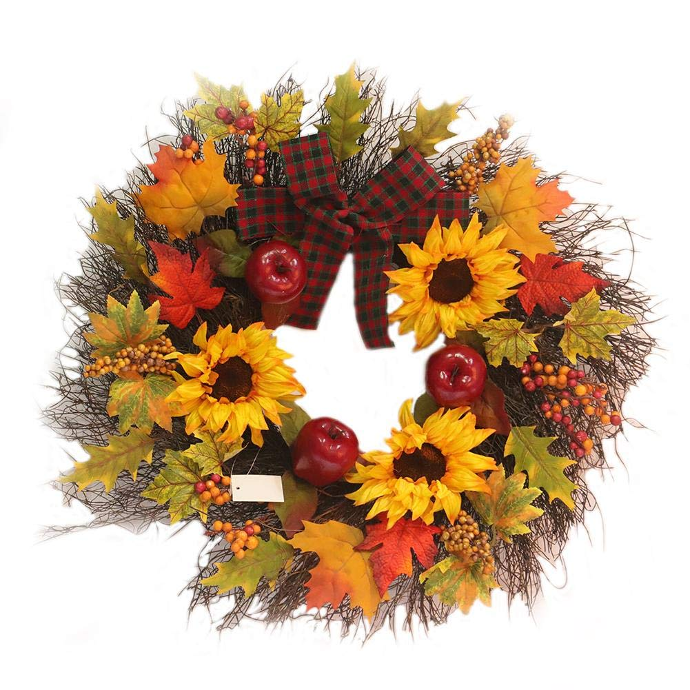 Harvest Hollows Fall Wreath 17.8 Inch Handmade With Sunflower Cereals Maple Leaf Autumn Grass Front Door Wreath Thanksgiving Decoration foreverwen