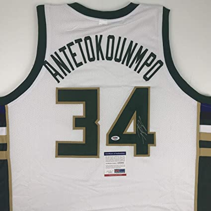 factory authentic 6268b 44e87 Autographed/Signed Giannis Antetokounmpo Milwaukee White ...