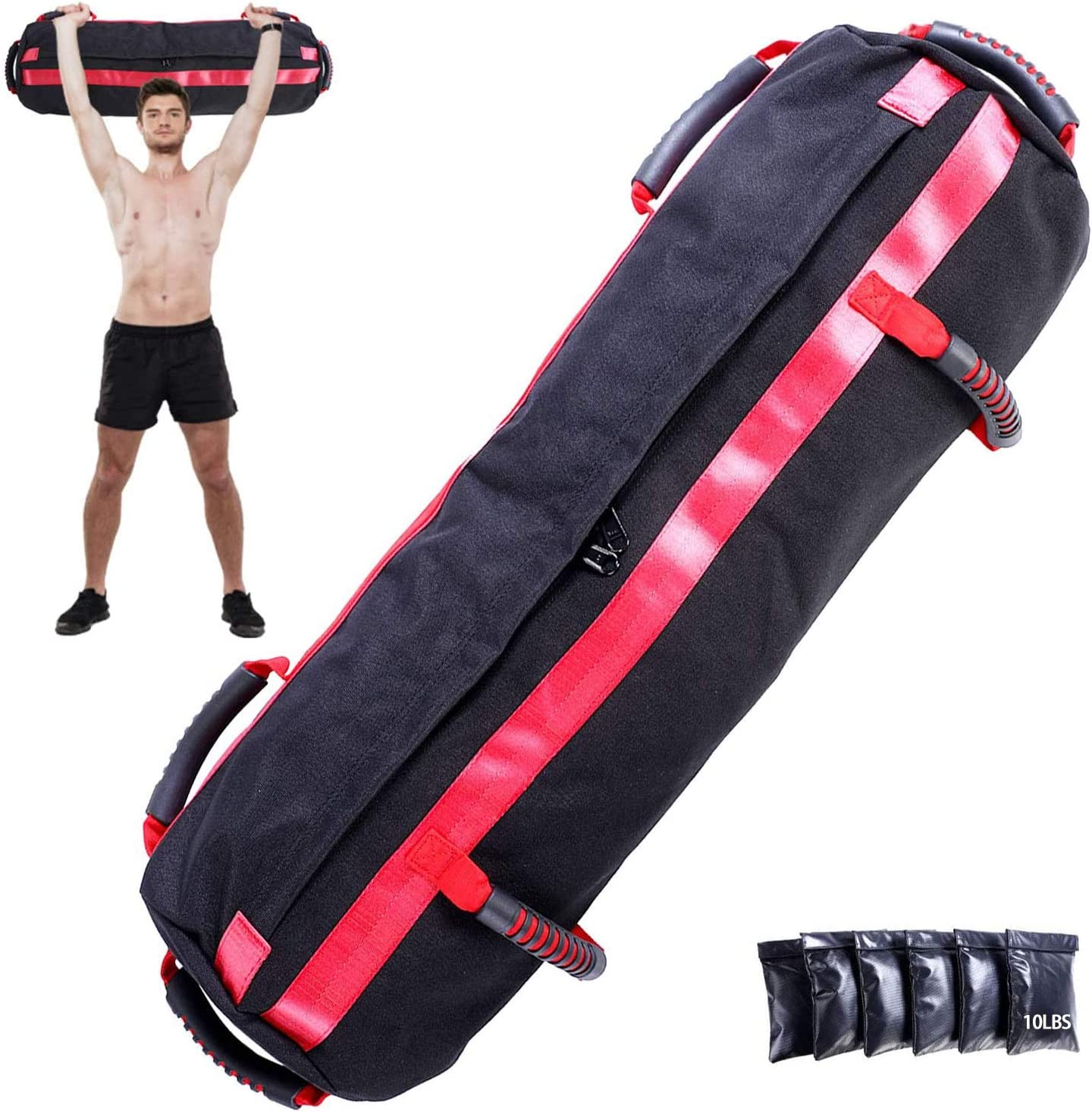Workout Sandbag, Adjustable Fitness Sandbag with 6 Filler Bags 10 to 60 Lbs, 6 Ergonomic Rubber Handles, Exercise Sandbags Perfect for a Home Gym, Crossfit, or a Personal Trainer.