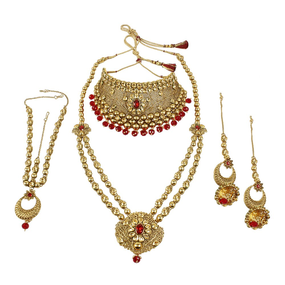 MUCHMORE Marvellous Style Polki Traditional Necklace Earring Bridal Set Partywear Jewelry For Womens