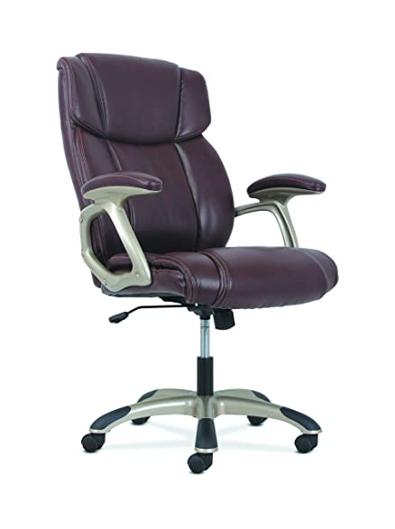Basyx By HON Brown High Back Leather Executive Office/Computer Chair With  Arms