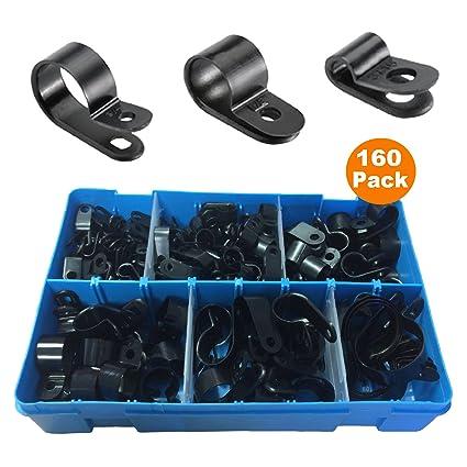 Clips para conducto, cable, tubos; 160 unidades, varios tamaños,