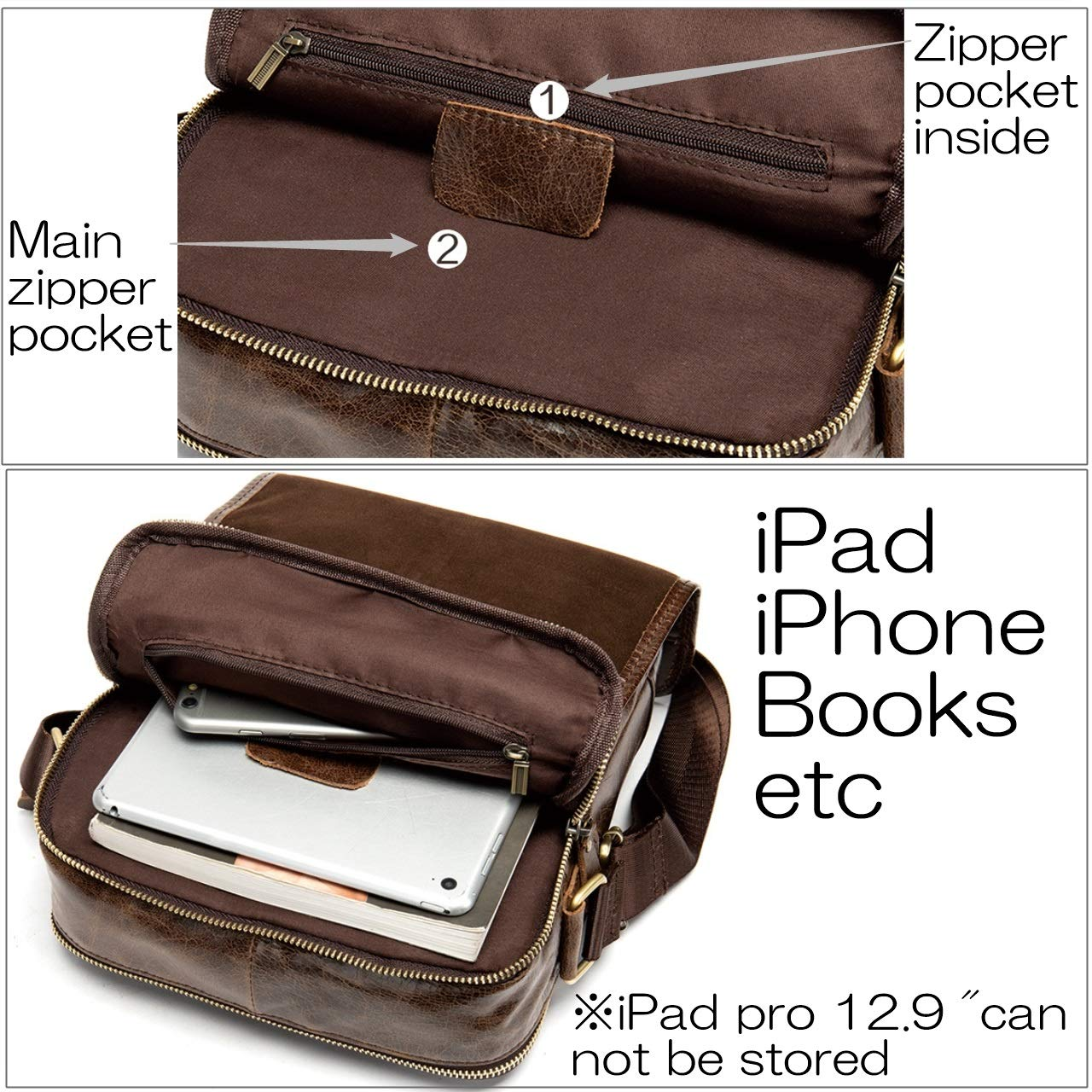 Vintage Mens Small Messenger Bags for iPad Tablet Contyu Genuine Leather Shoulder Bag for men Light brown Flap over Classic Crossbody Purse for Travel