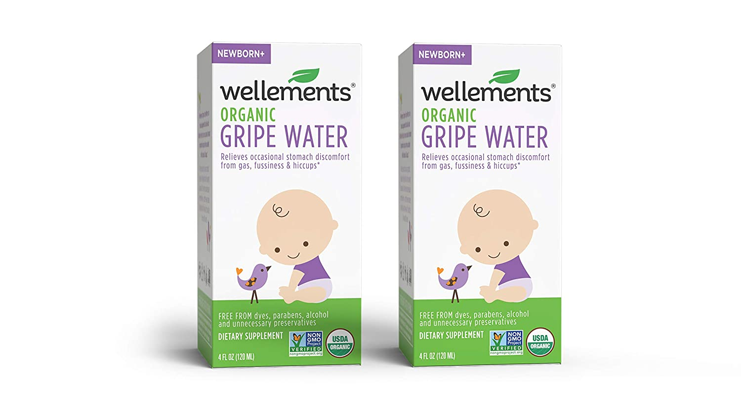Wellements Organic Gripe Water, 4 Fl Oz (Pack of 2), Eases Baby's Stomach  Discomfort, Free From Dyes,