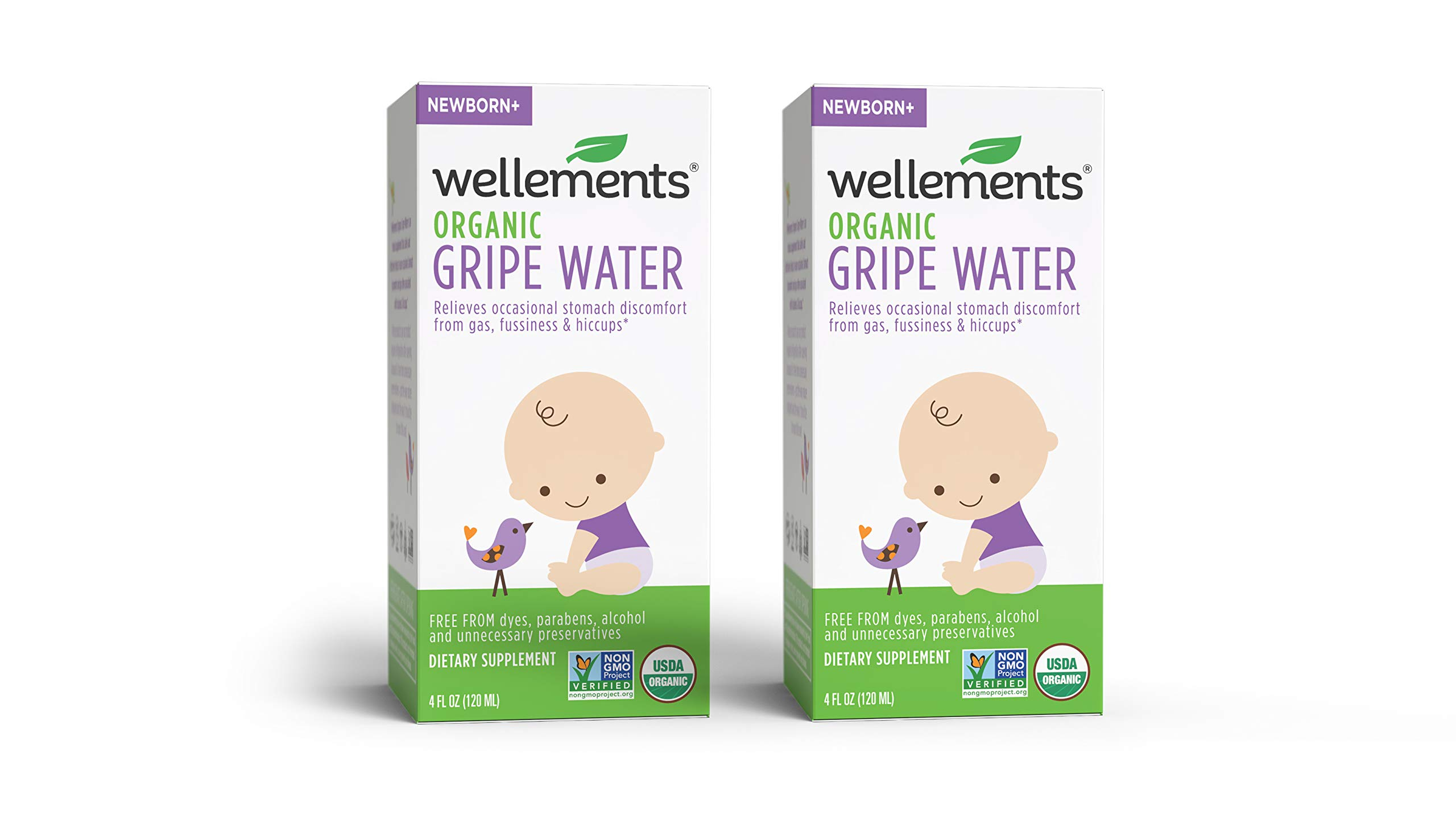 Wellements Organic Gripe Water, 4 Fl Oz (Pack of 2), Eases Baby's Stomach Discomfort, Free From Dyes, Parabens, Alcohol, Preservatives by Wellements