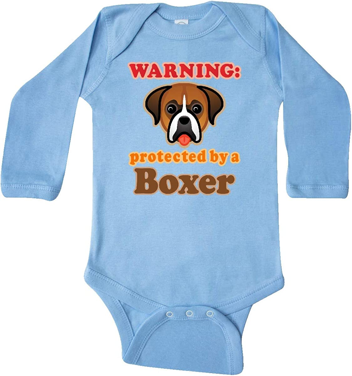 inktastic Protected by a Boxer Dog Long Sleeve Creeper