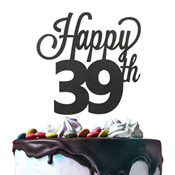 39th Happy Birthday Cake Topper Premium Double Sided Black Glitter Cardstock Paper Party Decoration