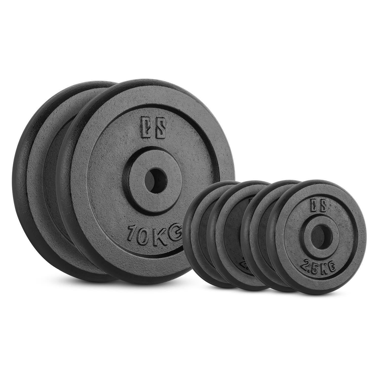 Capital Sports IPB 30 Kg Set juego de discos para mancuerna gimnasio (pesas de 4x2,5kg y 2x10kg, orificio de 30 mm, película protectora) - negro: Amazon.es: ...