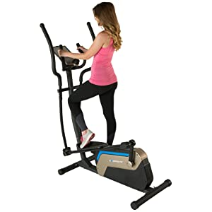 "Exerpeutic 4000 Double Transmission Drive 18"" Stride Elliptical with Magnetic Resistance and Heart Rate Control"