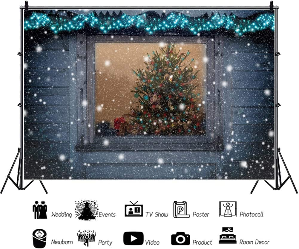 Leowefowa Merry Christmas Backdrop for Photography 10x8ft Vinyl Rustic Wood House Falling Snow Window View of Xmas Tree Background Christmas Party Banner Child Adult Photo Booth Props