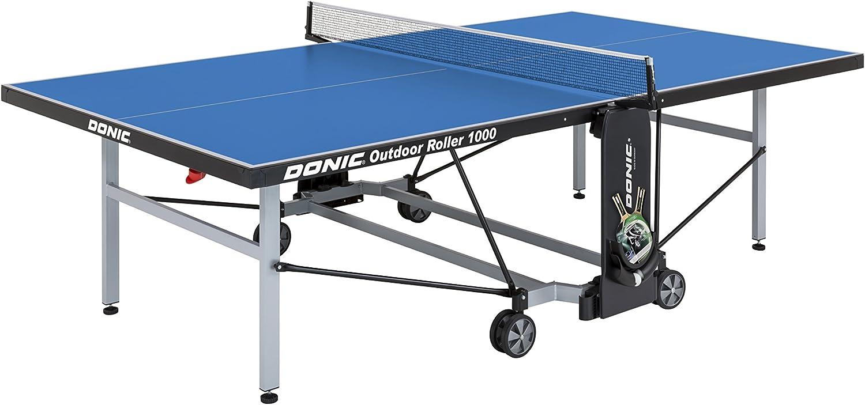 Donic Outdoor Roller 1000Placa de Tenis de Mesa, Color Blanco de Aluminio Negro de Color Azul, One Size