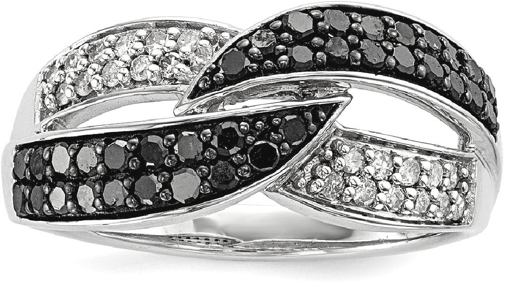 ICE CARATS 925 Sterling Silver Black White Diamond Band Ring Size 7.00 Fine Jewelry Gift Set For Women Heart