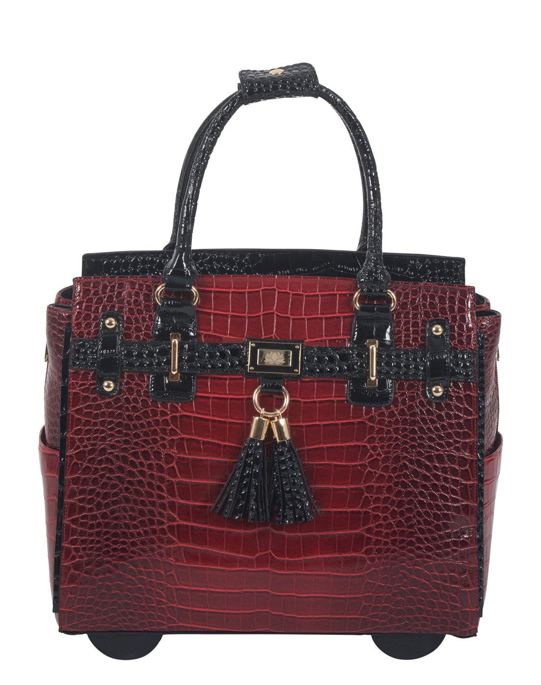 WESTLAKE Burgundy Black Alligator Computer iPad, Laptop Tablet Rolling Tote Bag Briefcase Carryall Bag