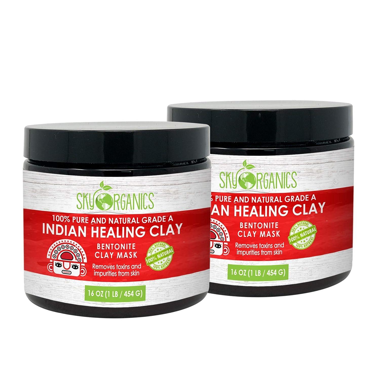 Sky Organics 100% Pure and Natural Grade A Indian Healing Clay Mask, 1 lb. (Pack of 2)