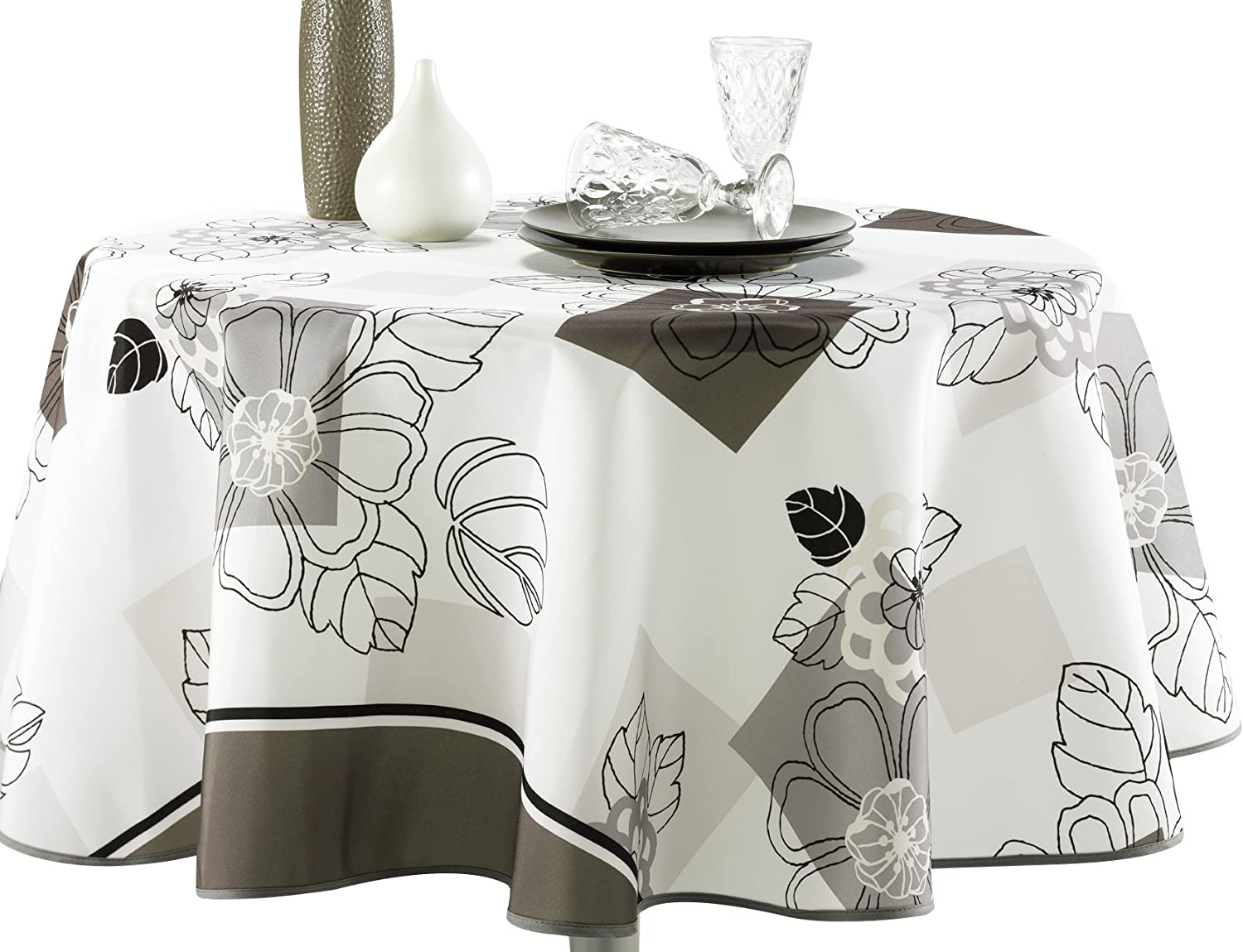 My Jolie Home 63-Inch Round Tablecloth Ivory White Floral Blossom, Stain Resistant, Washable, Liquid Spills Bead up, Seats 4 to 6 People (Other 60 x 80, 60 x 95, 60 x 120).