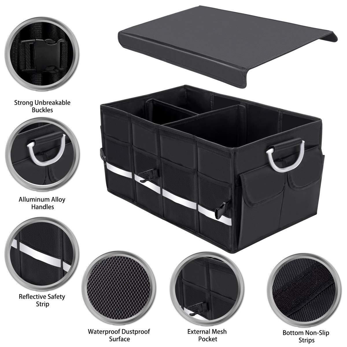Autoark Multipurpose Car SUV Trunk Organizer with Cover and Straps