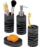 Zeller 18252 - Juego de accesorios de baño, fabricado en cerámica (4 piezas), color negro