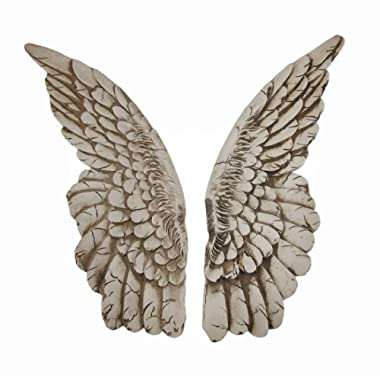 Zeckos Wings of Protection Pair of Aged Finish Hanging Angel Wings