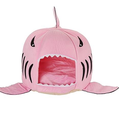 Merssavo Rosa Lindo Tiburón Boca Perro Mascota Gato Casa Perro Extraíble y Lavable Cama S: