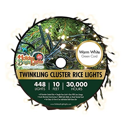 Amazon.com: 448 luces LED blanco cálido Twinkling Cluster ...