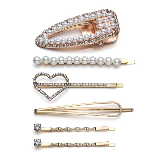78dd00c31a024 Amazon.com : Bonnie Trendy Faux Pearl Beaded Hair Clip Set Tic Tac ...