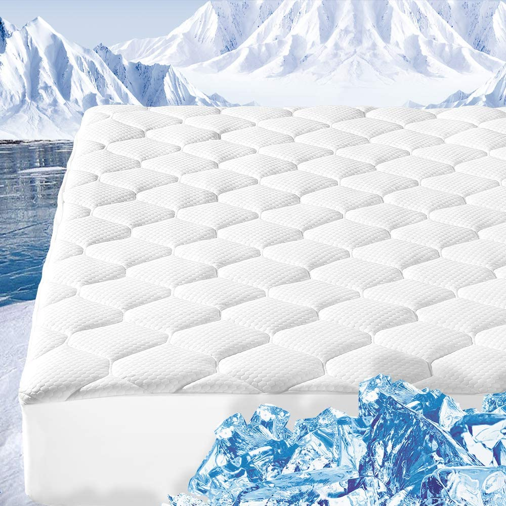 "ENITYA Queen Size Mattress Pad Cooling Quilted Fitted Mattress Cover, Breathable, Soft with 8-21"" Deep Pocket (400 GSM Snow Down)"