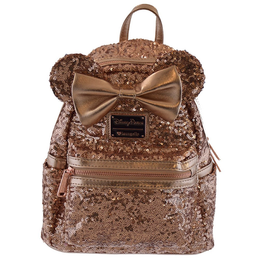 70bd3a8f4ac Galleon - Disney Parks Loungefly Rose Gold Minnie Mouse Sequin Backpack -  Updated Style