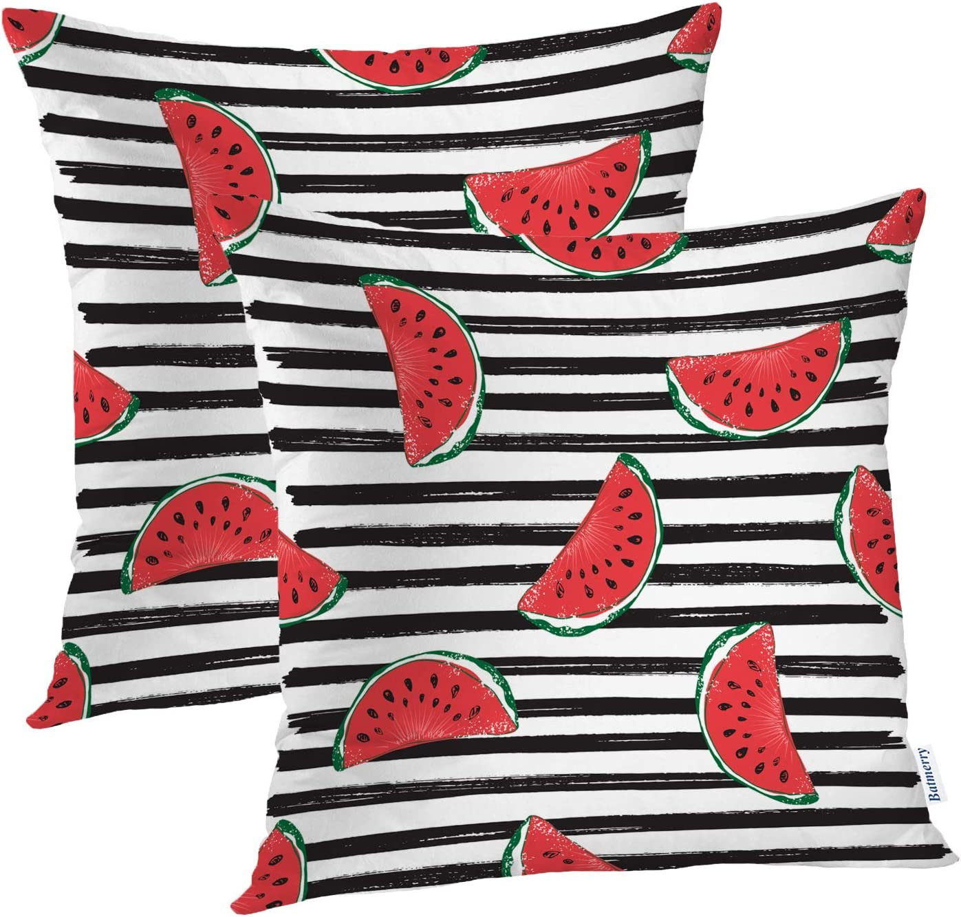 Batmerry Summer Red Green Decorative Pillow Covers, 20 x 20 Inch Colorful Fruits Delicious and Decorative Double Sided Throw Pillow Covers Sofa Cushion Cover Square 20 Inches(Set of 2)