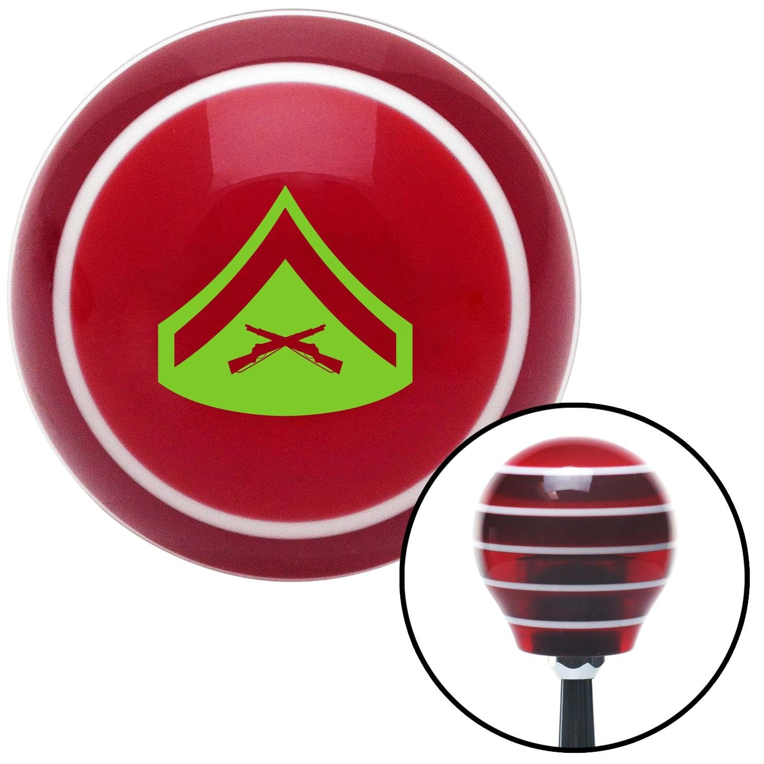 American Shifter 115989 Red Stripe Shift Knob with M16 x 1.5 Insert Green 02 Lance Corporal