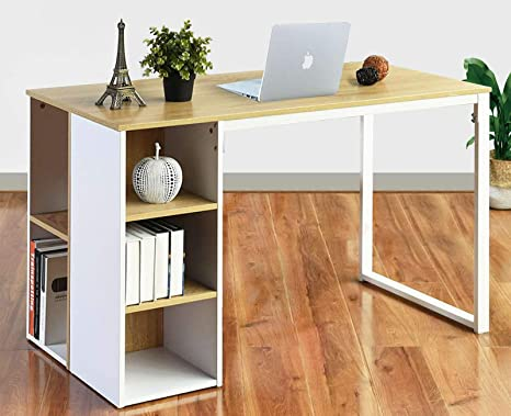 Amazon Com Computer Desk With Storage Shelves 47 2 White Office Writing Desk Students Study Table Home Corner Gaming Desk Large Modern Pc Laptop Table Wood And Steel Structure Oak Furniture Decor