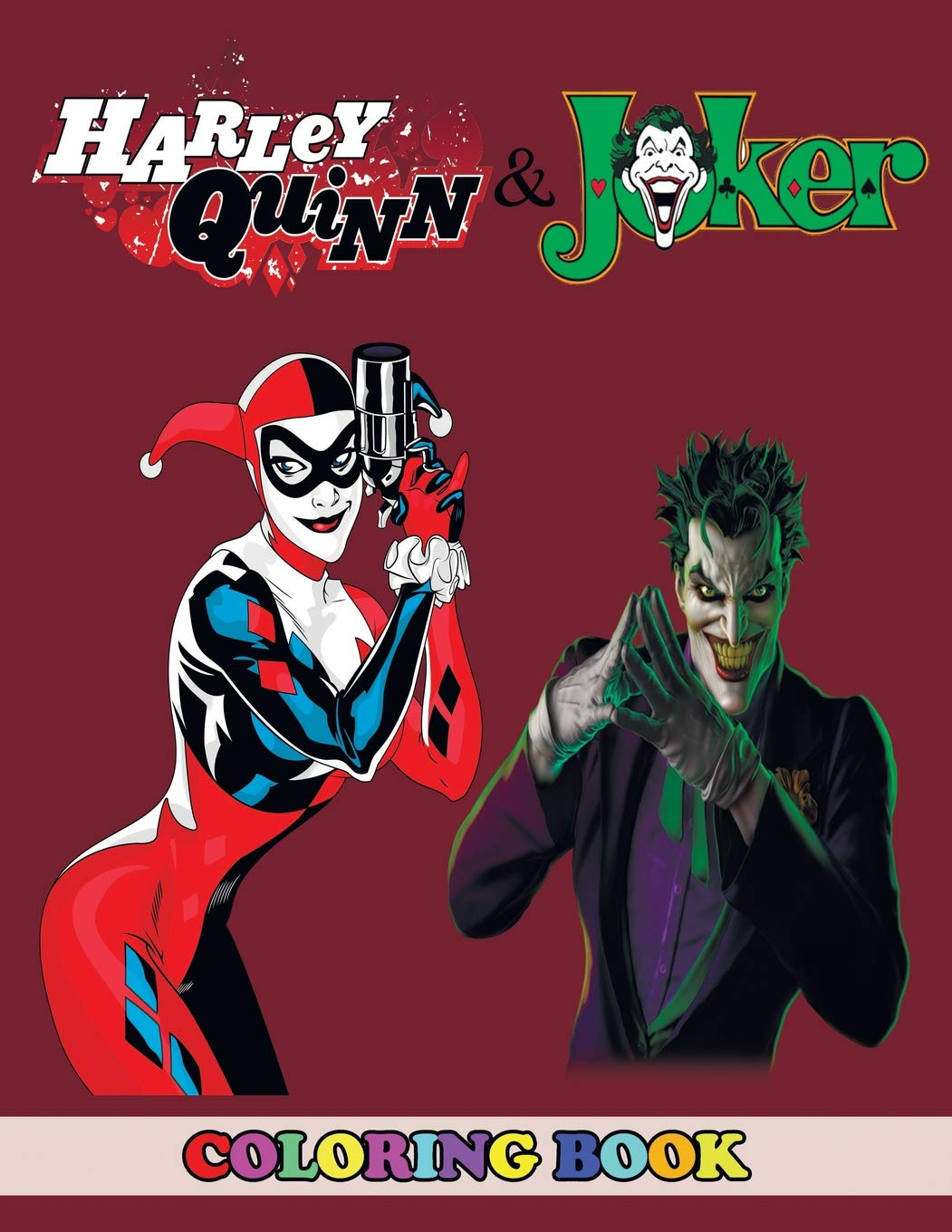 9d1e1217ad00 Harley Quinn and Joker Coloring Book  2 in 1 Coloring Book for Kids and  Adults