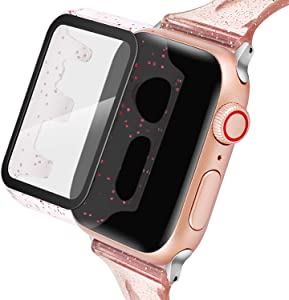 Blingbrione Glitter Case with Screen Protector Compatible for Apple Watch Case Cover 38mm,Hard PC Ultra-Thin iPhone Watch Bling Cover,HD Clear Apple Watch Bumper Shield Series 3 2 1-Rose Gold Crystal