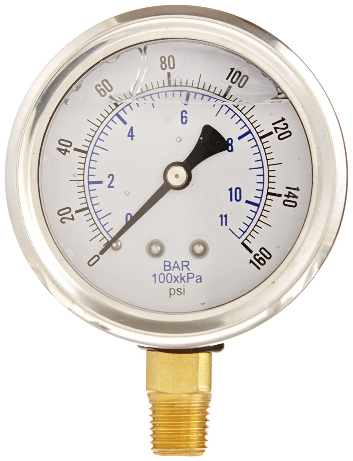 PIC Gauge PRO 201L 254F Glycerin Filled Industrial Bottom Mount Pressure Gauge with Stainless Steel Case Brass Internals Plastic Lens 2 1 2 Dial Size 1 4 Male NPT 0 160 psi