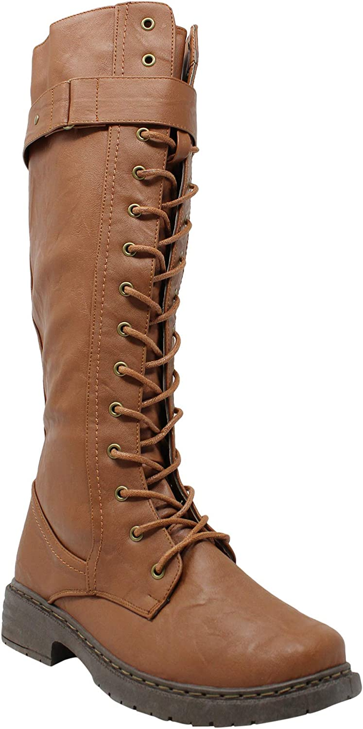 Vintage Boots, Retro Boots Wanted Womens Retreat Combat Knee High Lace-Up Boots $79.99 AT vintagedancer.com