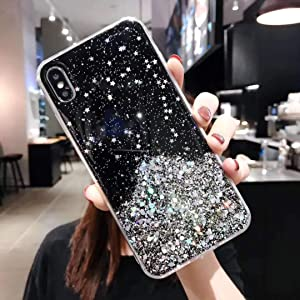 "Cocomii Glitter Clear iPhone Xs Max Case, Slim Thin Glossy Soft Flexible TPU Silicone Rubber Gel Shiny Sparkle Sequin Bling Fashion Bumper Cover Compatible with Apple iPhone Xs Max 6.5"" (Black)"