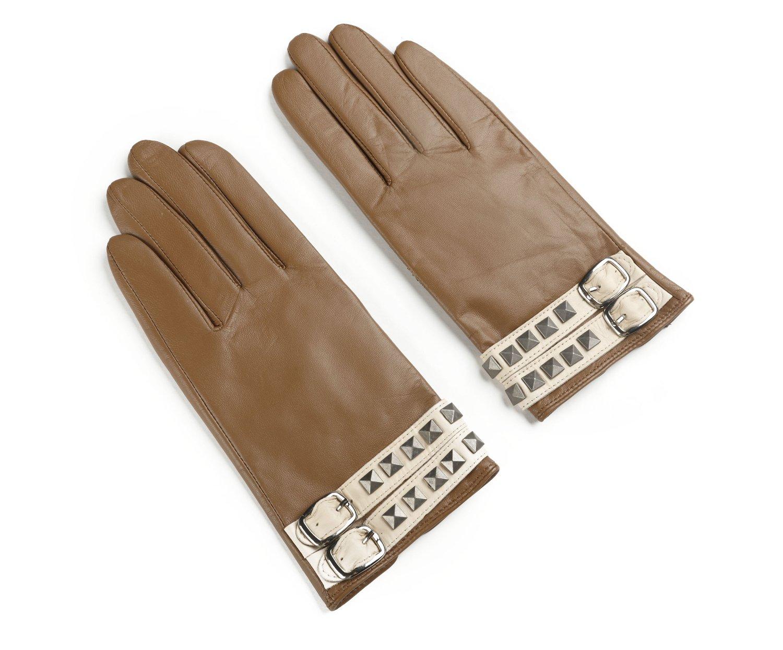 Ambesi Women's Rivet Fleece Lined Nappa Leather Winter Gloves Camel XL