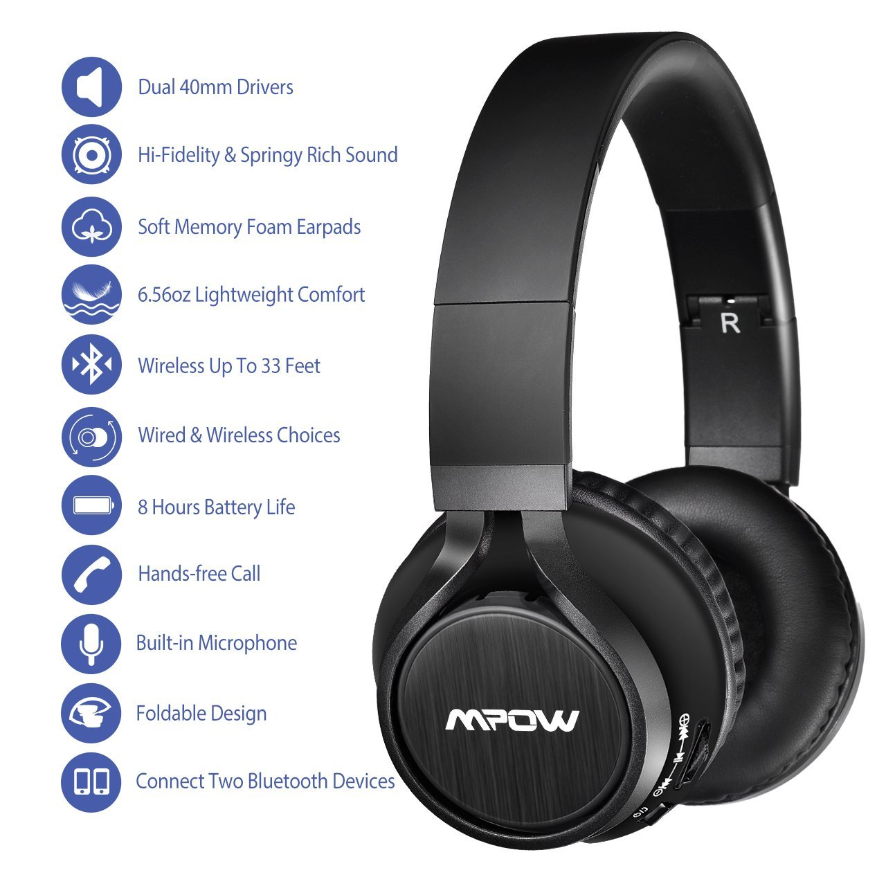Amazon.com: Mpow Thor Bluetooth Headphones On Ear, 40mm Driver Wireless Headset Foldable with Mic, Wired and Wireless Headphones for Cell Phone/TV/PC: ...