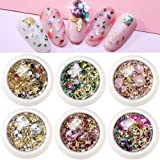 Macute Nail Charms Gems 3D Nail Art Rhinestones Studs for Women 6 Wheels Mixed Nail Crystals Rivets Diamond Sparkle Metal Hollow Moon Star Shaped Jewels Beads for DIY Manicure Supplies Tip Accessories