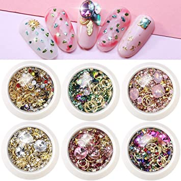 Nail Art Rhinestones Decorations For Women 3d Nail Crystals Gems 6 Wheels Mixed Flatback Rivets Diamond