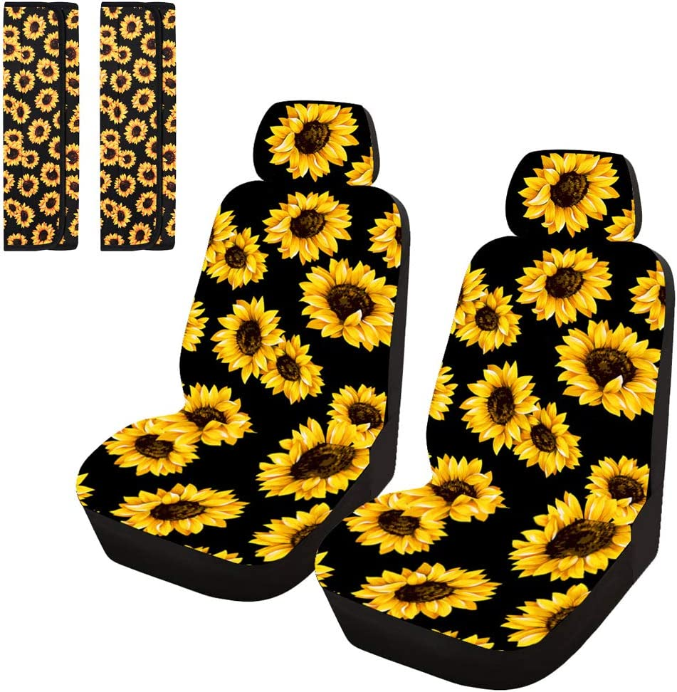Venhoo Sunflower Car Accessories of Universal Car Front Seat Covers and Seat Belt Covers Shoulders Pad-2 Pack