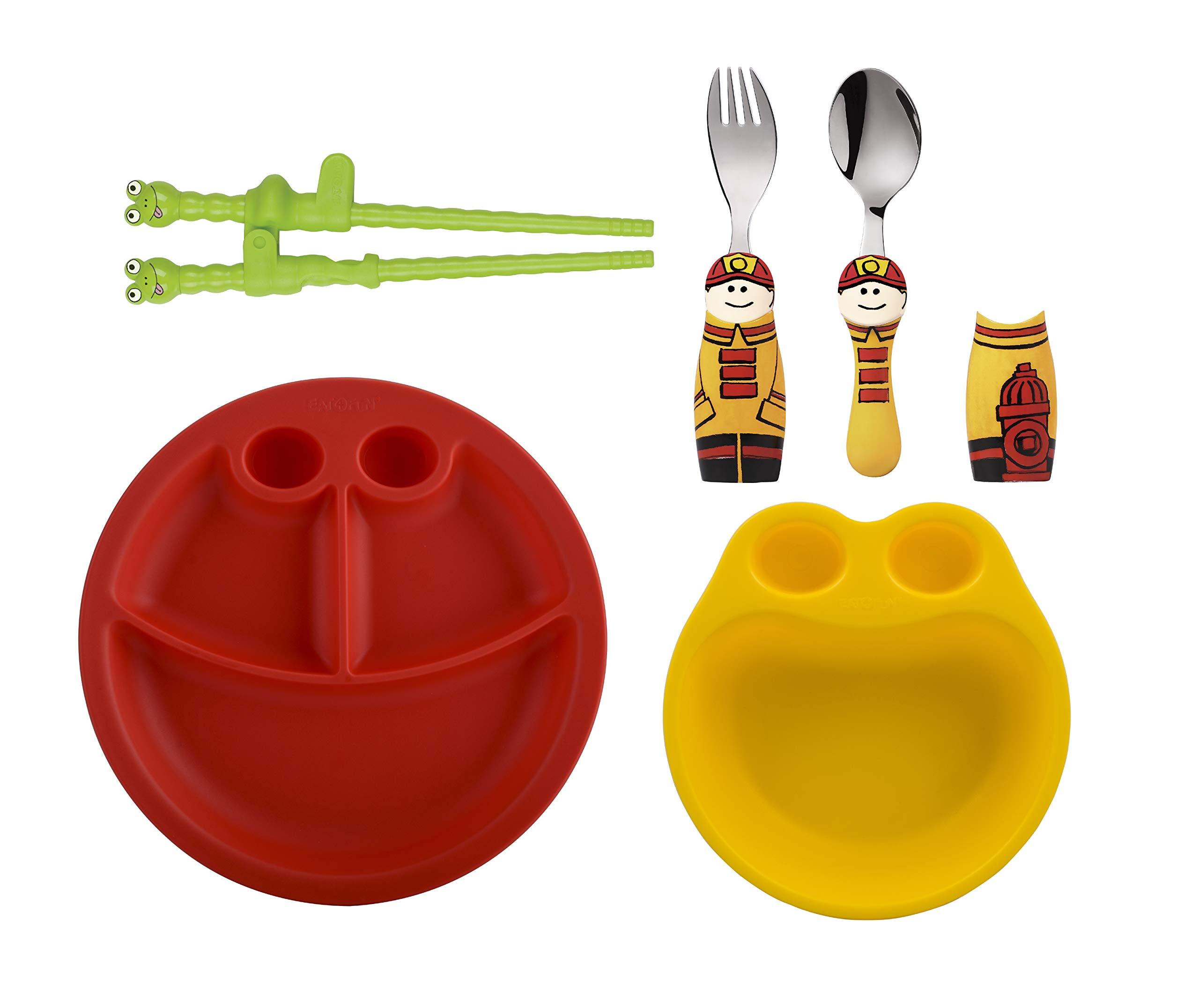 Eat4Fun Kids and Toddler Utensil Set - Fireman Fork & Spoon Plate and Bowl w/Chopsticks