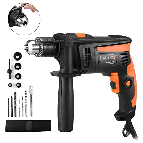TACKLIFE Hammer Drill, 1 2-Inch Electric Drill, 12 Drill Bit Set, 2800 RPM, Variable-speed Trigger, 360 Rotating Handle, For Brick, Wood, Steel, Masonry – PID01A