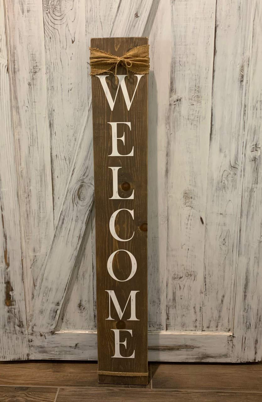 Welcome Sign for Front Porch/Front Door by RiverHavenDesigns, 4 feet Tall Large Rustic Farmhouse Style