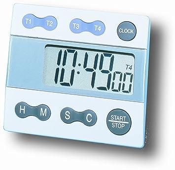 General Tools Temporizador digital, cuatro canales con reloj (TI388)