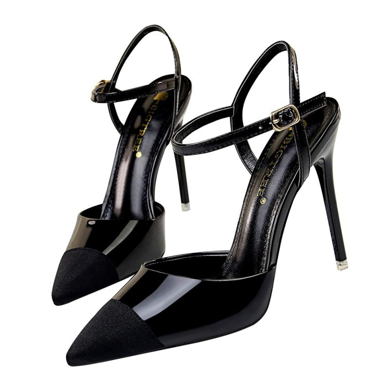 Black coolemon 2019 Women Pointed Toe Pumps shoes Woman High Heels Sandals Sexy Strap Patchwork Stilettos Wedding Party Dress shoes