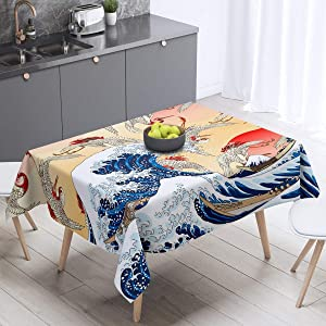 Crane Table Cover Ukiyoe Theme Tablecloths 55