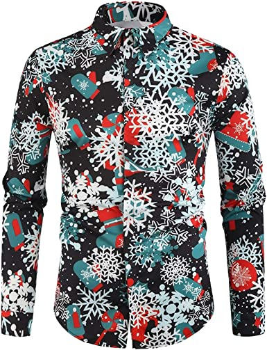 Luckycat Navidad Hombres Casual Copos de Nieve Papá Noel Estampado Camisa de Navidad Top Blusa Camiseta de Santa para Hombre Santa Candy Printed Christmas Shirt Top Blouse para Hombre: Amazon.es: Ropa y