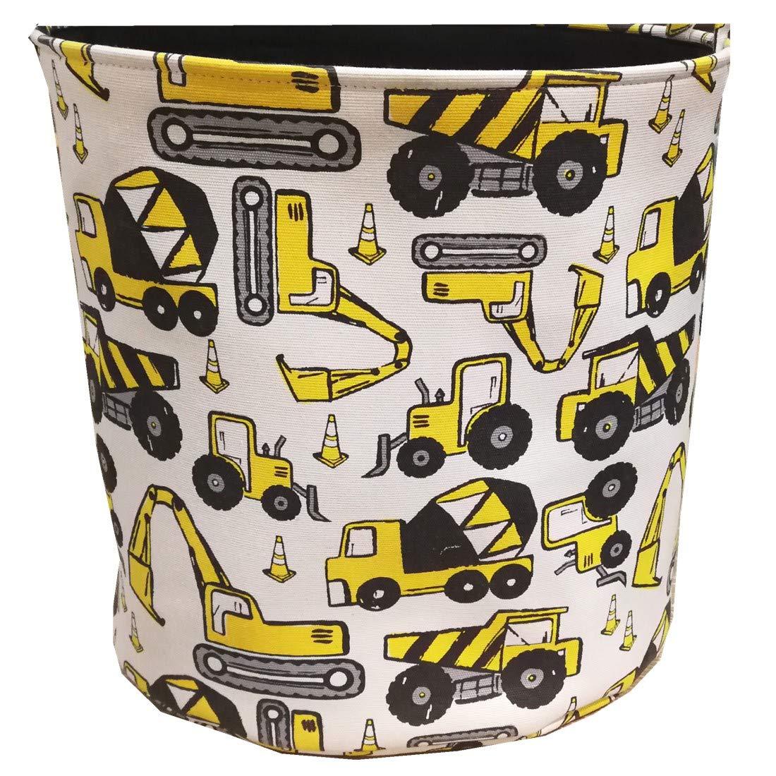 Storage Baskets Boys Kids, Cotton Cartoon Cute Toy Storage Bins Kids Laundry Basket Nursery Hamper with Handle Toy Box/Toy Organizer Medium Size (Engineering Car)