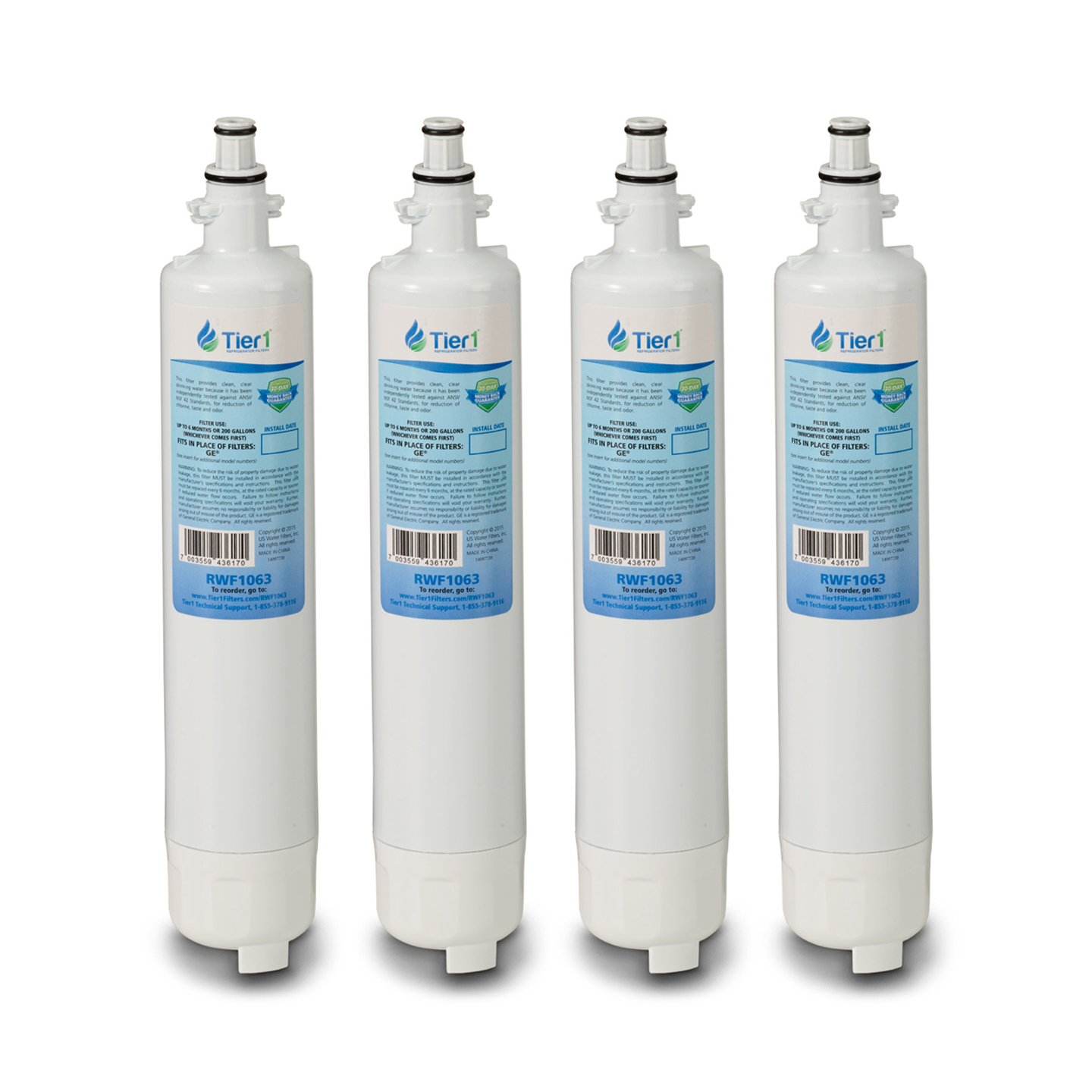 Tier1 Replacement GE RPWF Refrigerator Water Filter (NOT for RPWFE) 4 Pack